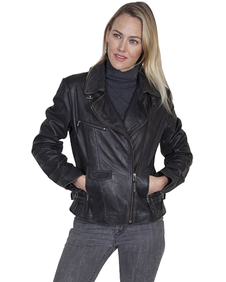 Scully Women's Black Motorcycle  Leather Jacket, Black, hi-res