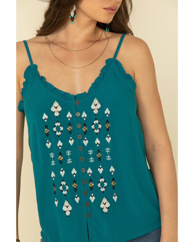 Shyanne Women's Teal Ruffle Beaded Cami , Teal, hi-res