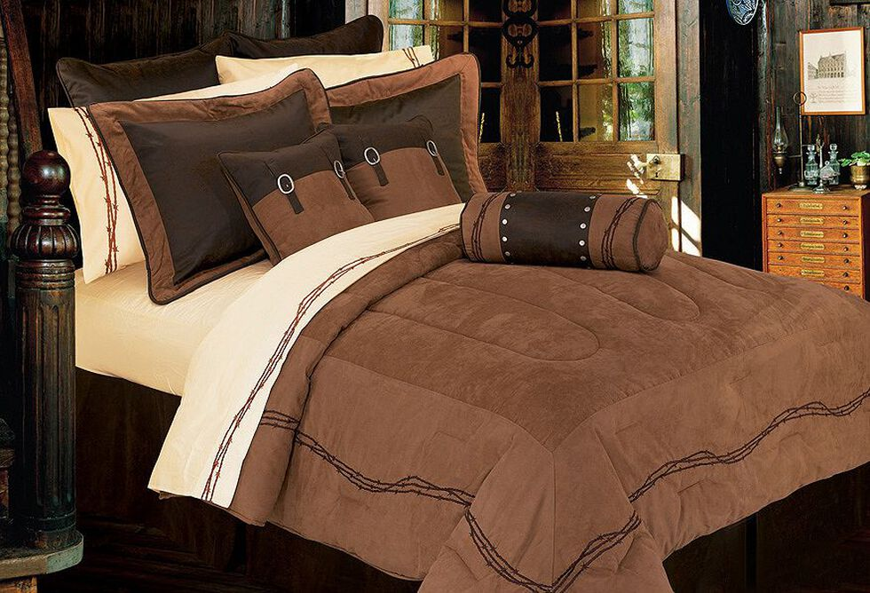 Hiend Accents Barbed Wire Embroidery Bed In A Bag Set Twin Size Dark Brown