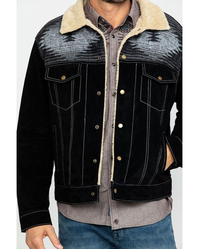 Scully Men's Boar Suede Aztec Yolk Jean Jacket , Black, hi-res