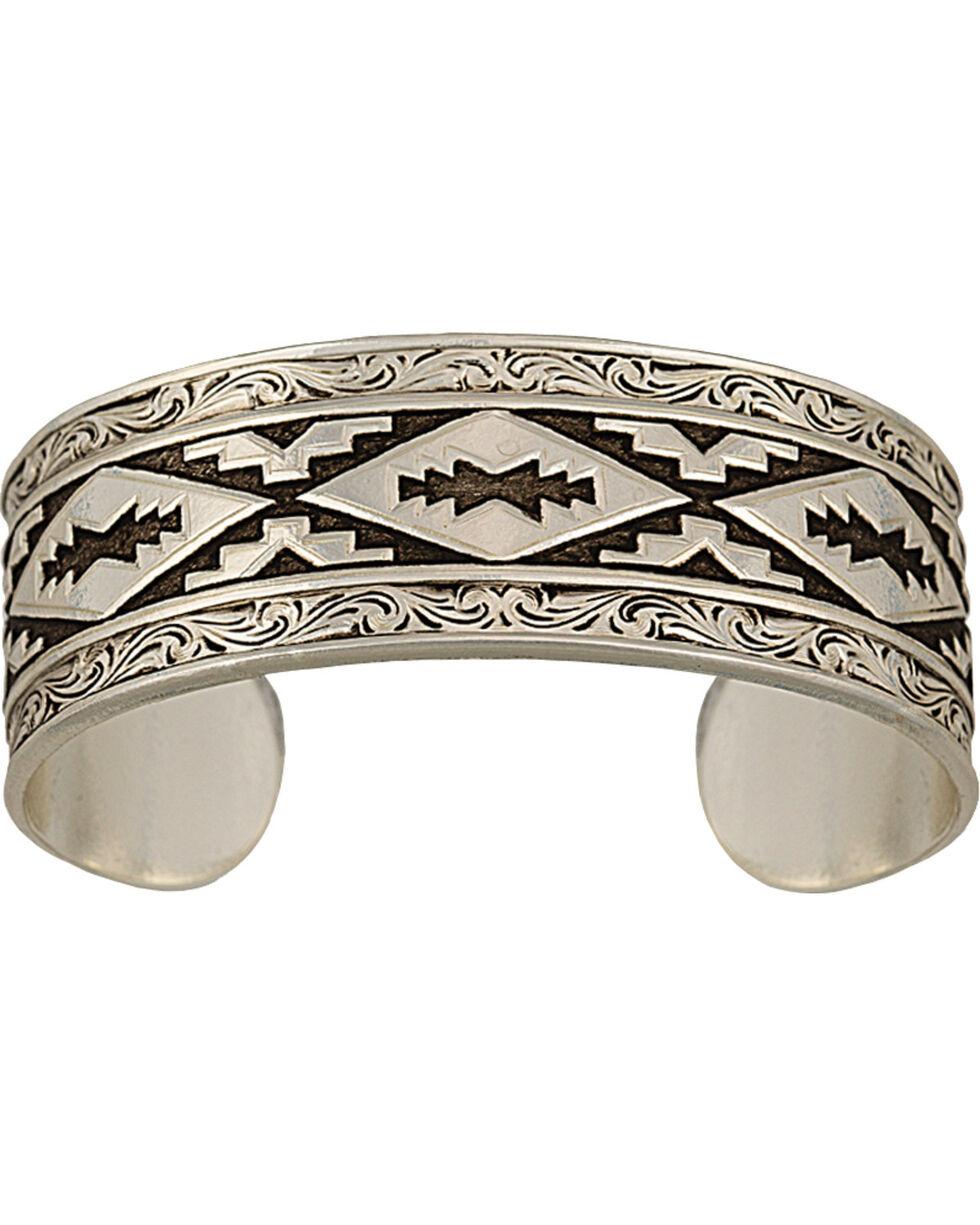 Montana Silversmiths Antiqued Aztec Steps Pattern Cuff Bracelet, Silver, hi-res