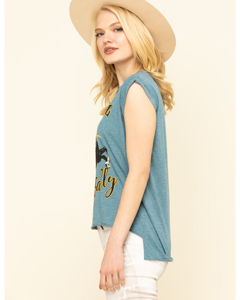 Rodeo Quincy Women's Blue Mustang Sally Roll Cuff Muscle Tee, Blue, hi-res