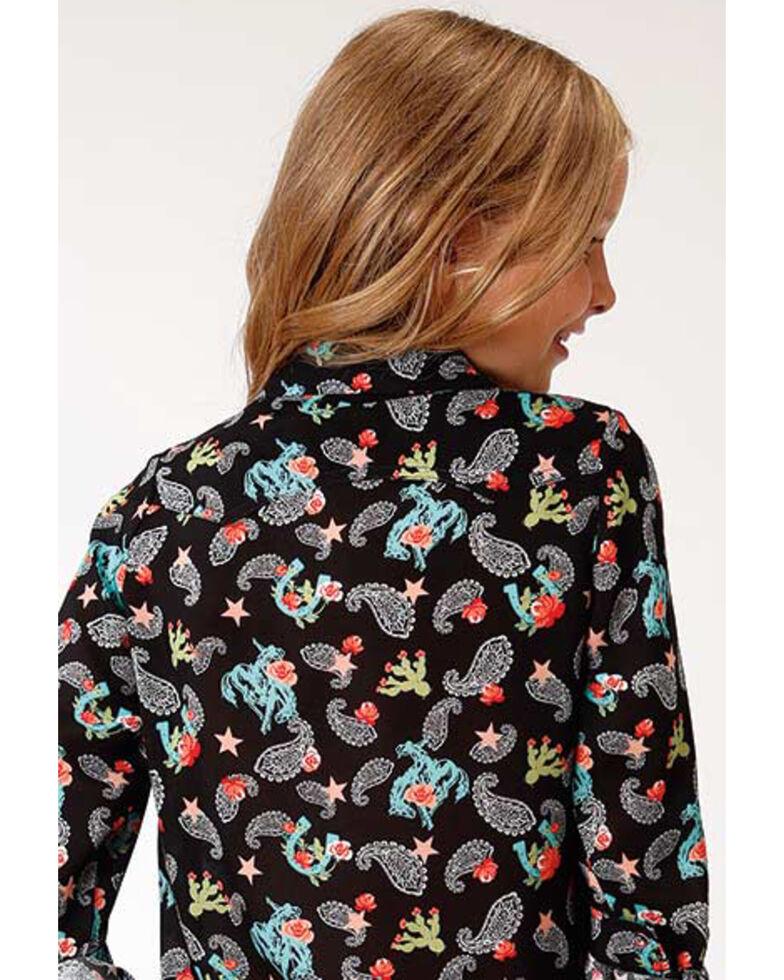 Five Star Girls' Paisley Print Long Sleeve Western Shirt, Black, hi-res