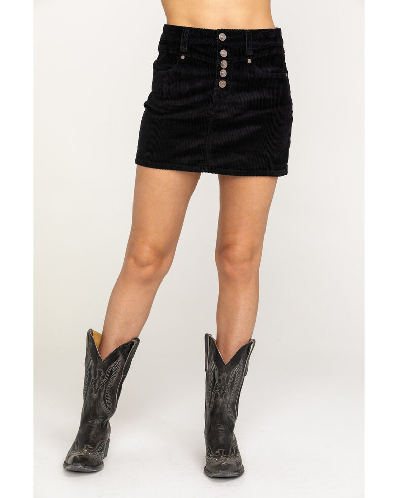 Shyanne Women's Corduroy Mini Skirt, Black, hi-res