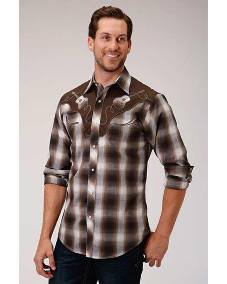 Roper Men's Brown Plaid Fancy Applique Long Sleeve Western Shirt , Burgundy, hi-res