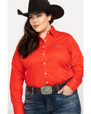 Ariat Women's Kirby Stretch Hibiscus Long Sleeve Western Shirt - Plus , Coral, hi-res