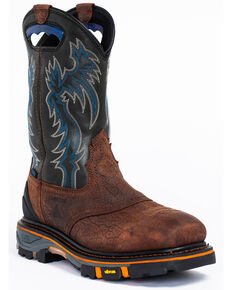 Cody James Men's Decimator Waterproof Western Work Boots - Nano Composite Toe, Brown, hi-res