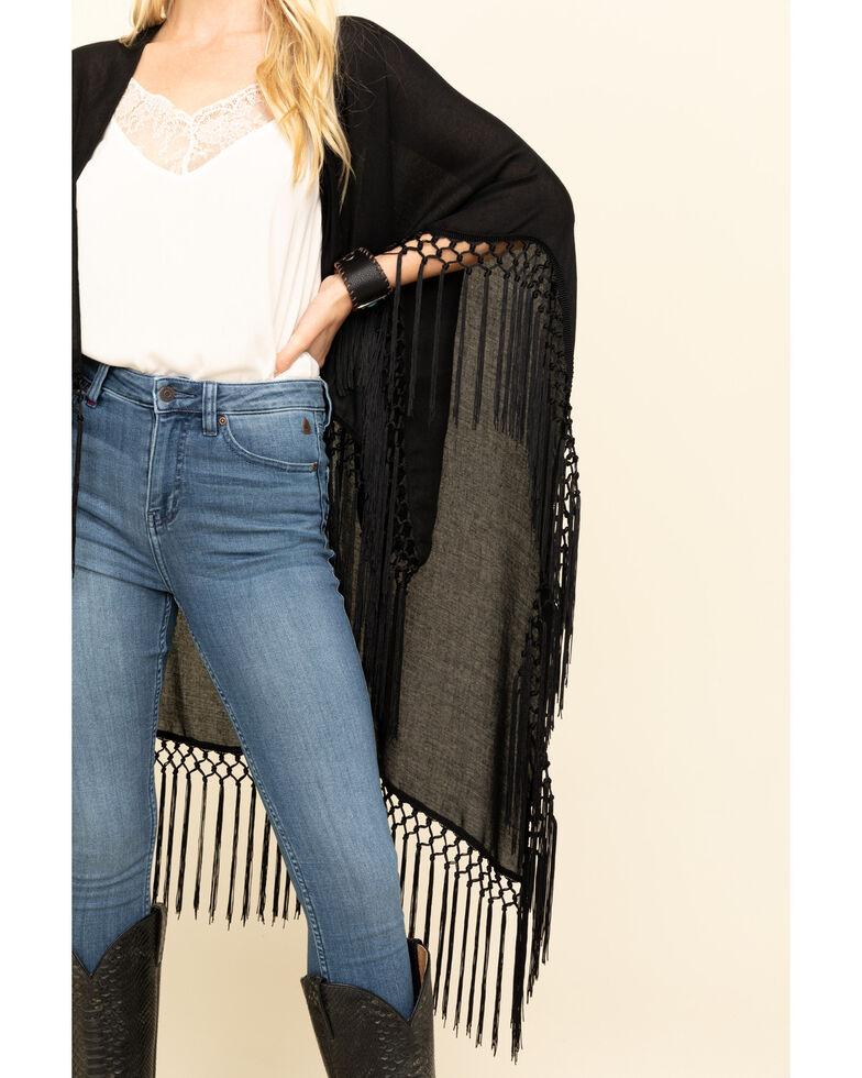 Idyllwind Women's Roamer Fringe & Crochet Kimono, Black, hi-res