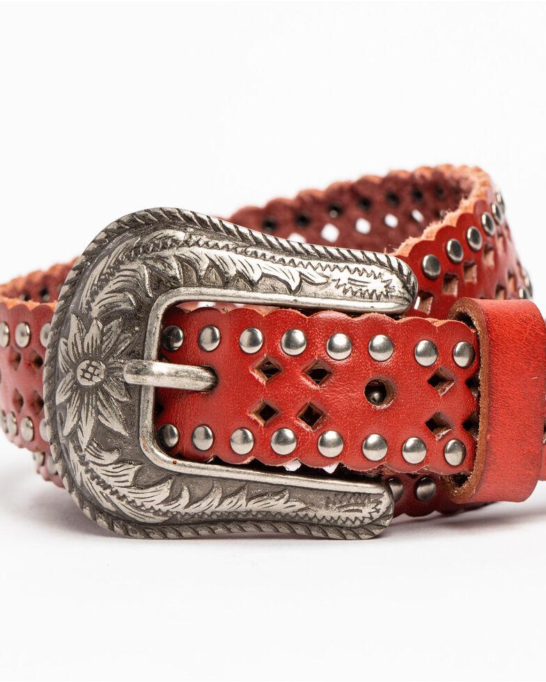 Shyanne Women's Hi Striker Studded Belt , Red, hi-res