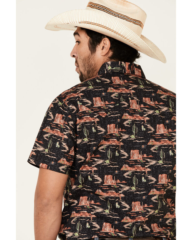 Dale Brisby Men's Black Desert Novelty Print Short Sleeve Western Shirt , Black, hi-res