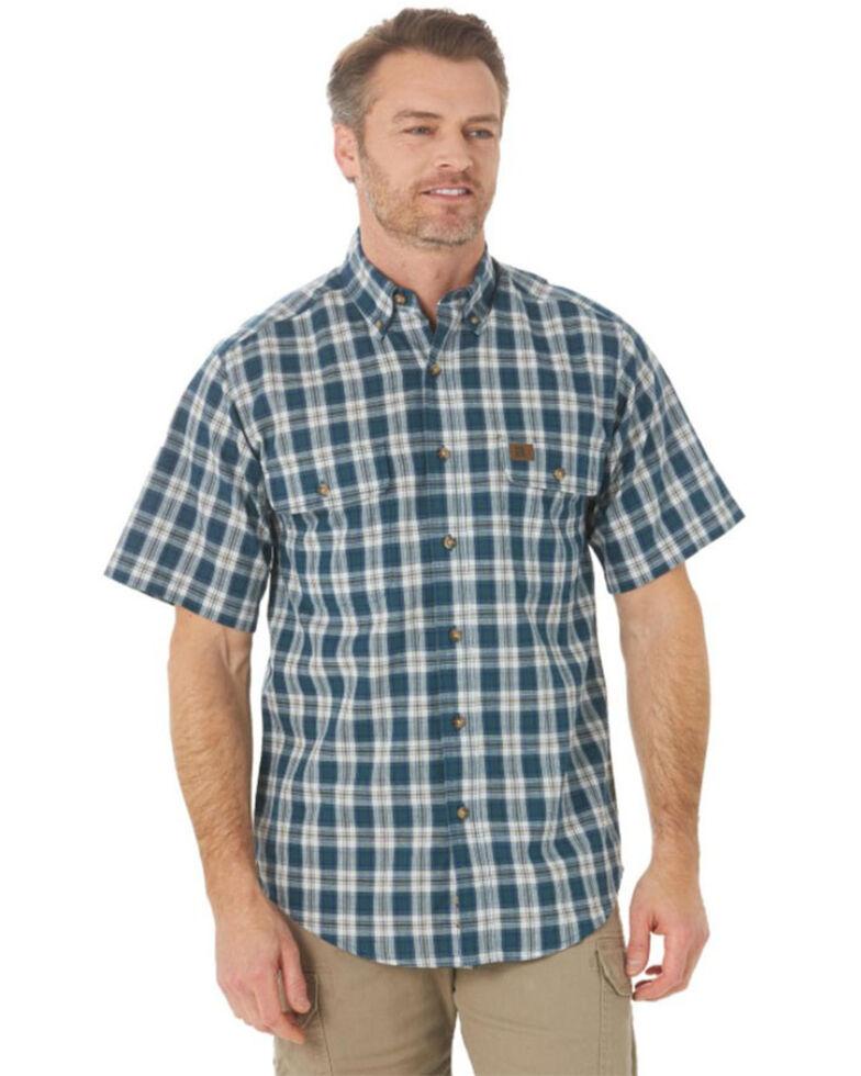 Wrangler Riggs Men's Blue Small Foreman Plaid Short Sleeve Button-Down Work Shirt , Blue, hi-res