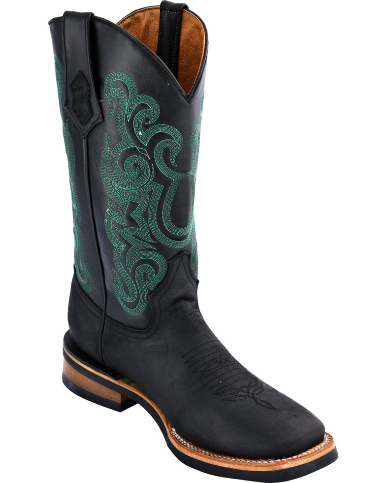 Ferrini Men's Maverick Black Cowboy Boots - Square Toe, Black, hi-res