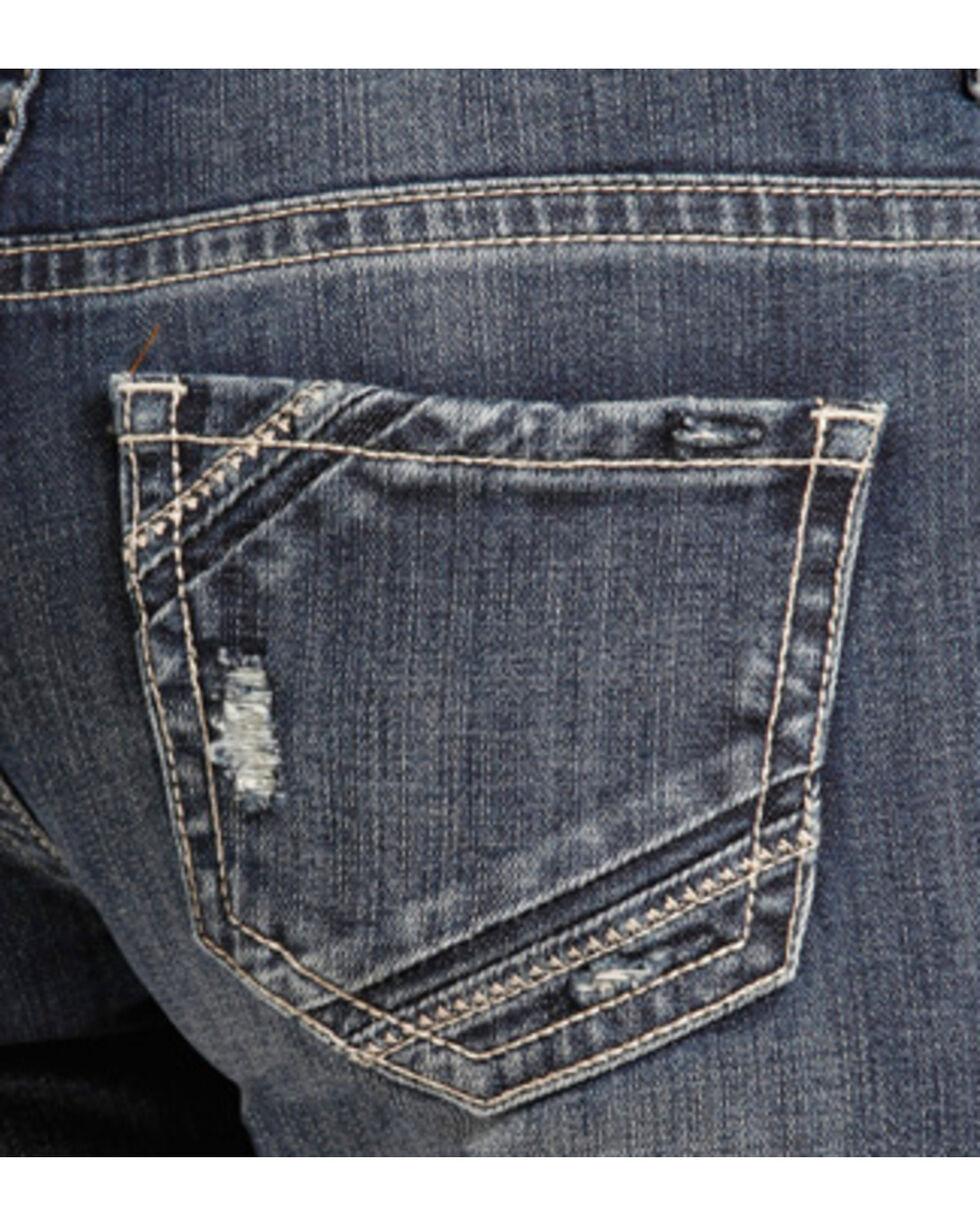 Rock & Roll Cowgirl Women's Distressed Boyfriend Jeans - Boot Cut , Indigo, hi-res