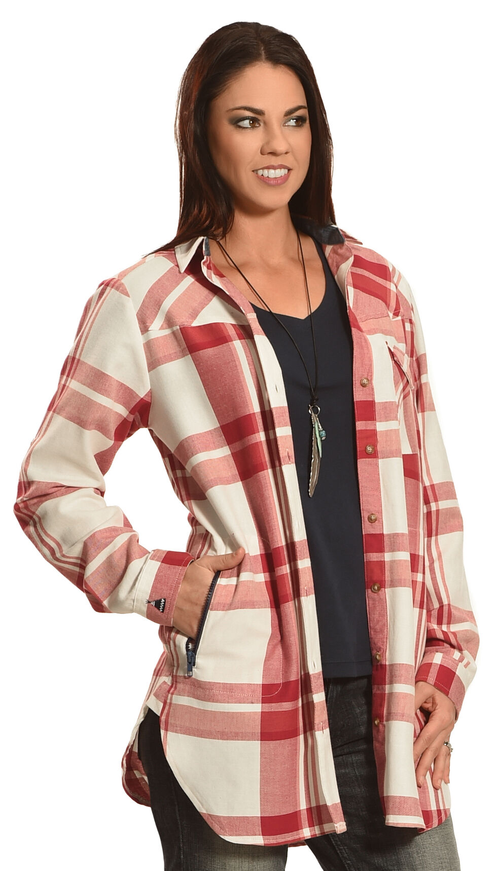Tasha Polizzi Women's Plaid Highland Country Shirt , Raspberry, hi-res