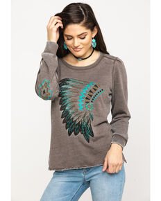 Ariat Women's Peace Bonnet Top, Brown, hi-res