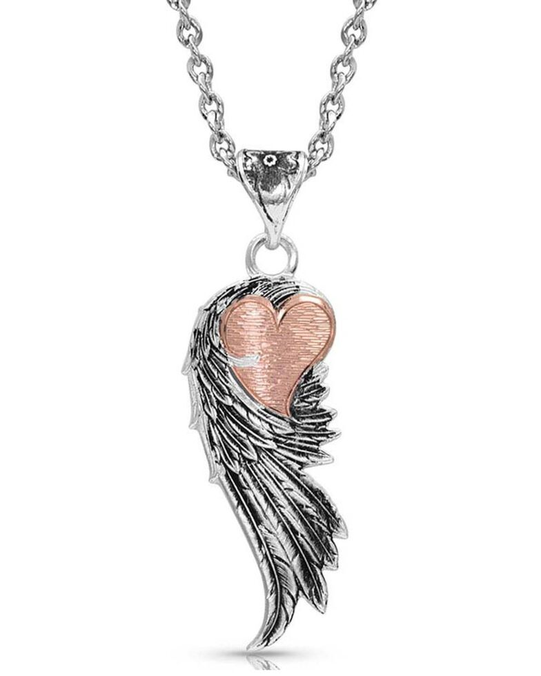 Montana Silversmiths Women's Rose Gold Heart Strings Feather Necklace, Silver, hi-res