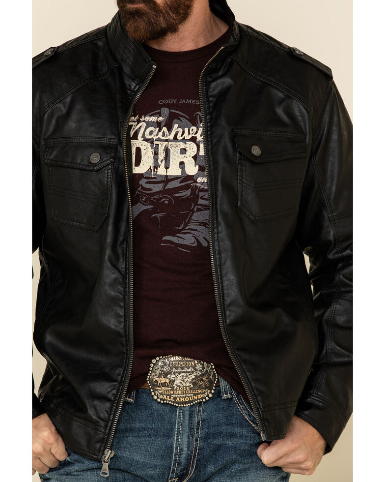 Cody James Men's Black Backwoods Distressed Faux Leather Moto Jacket , Black, hi-res