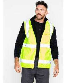 Hawx® Men's Reversible Reflective Work Vest - Big and Tall, Yellow, hi-res