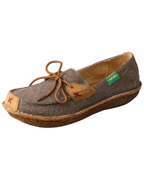 Twisted X Women's ECO TWX Leather Wrapped Shoes - Moc Toe, Grey, hi-res
