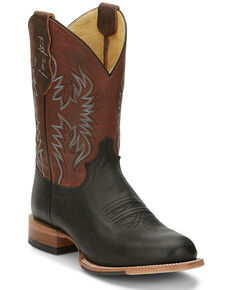 Justin Men's Pearsall Western Boots - Round Toe, Black, hi-res