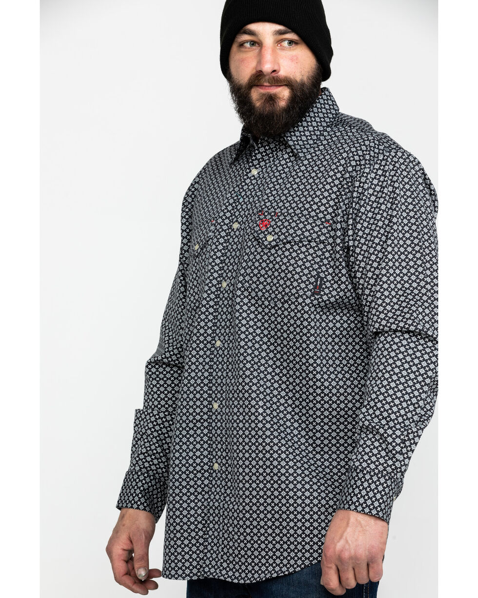 Ariat Men's FR Fulmar Print Snap Long Sleeve Work Shirt , Black, hi-res