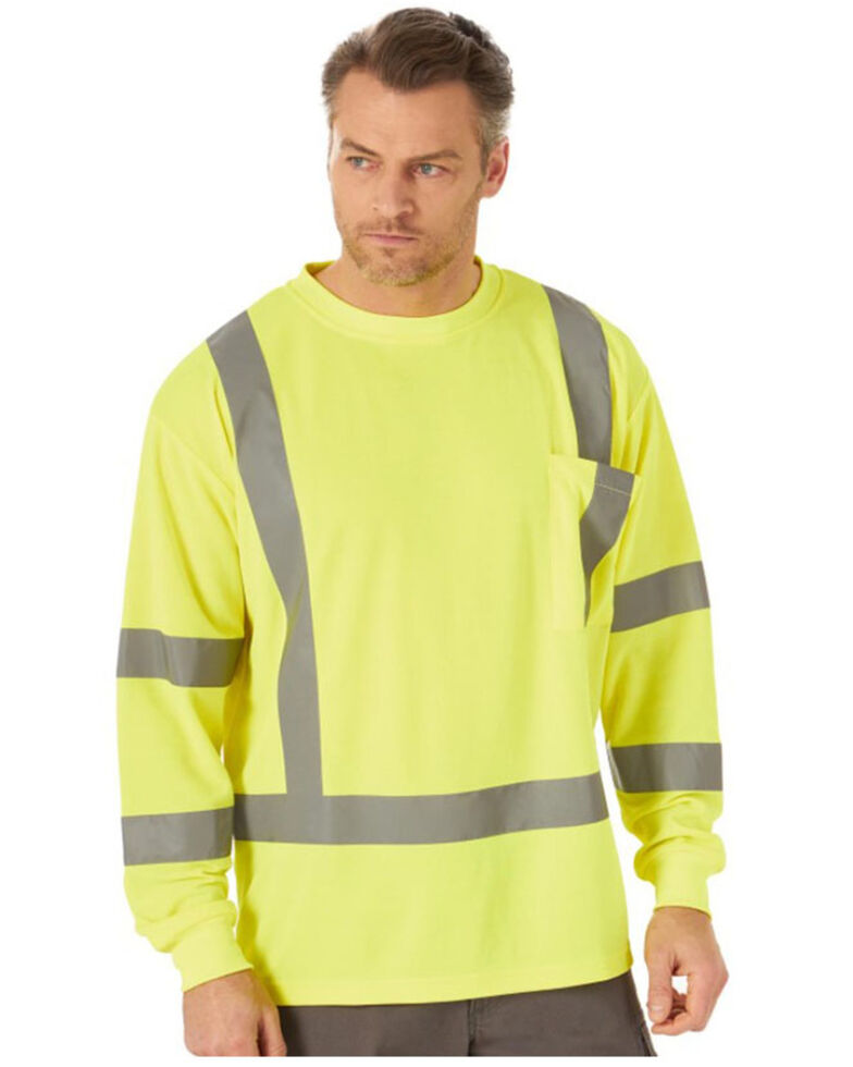 Wrangler Riggs Men's Safety Green High Visibility Long Sleeve Work T-Shirt  , Yellow, hi-res