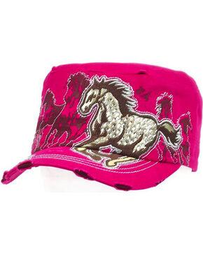 Western Express Women's Pink Vintage Running Horse Rhinestone Cadet Cap, Pink, hi-res