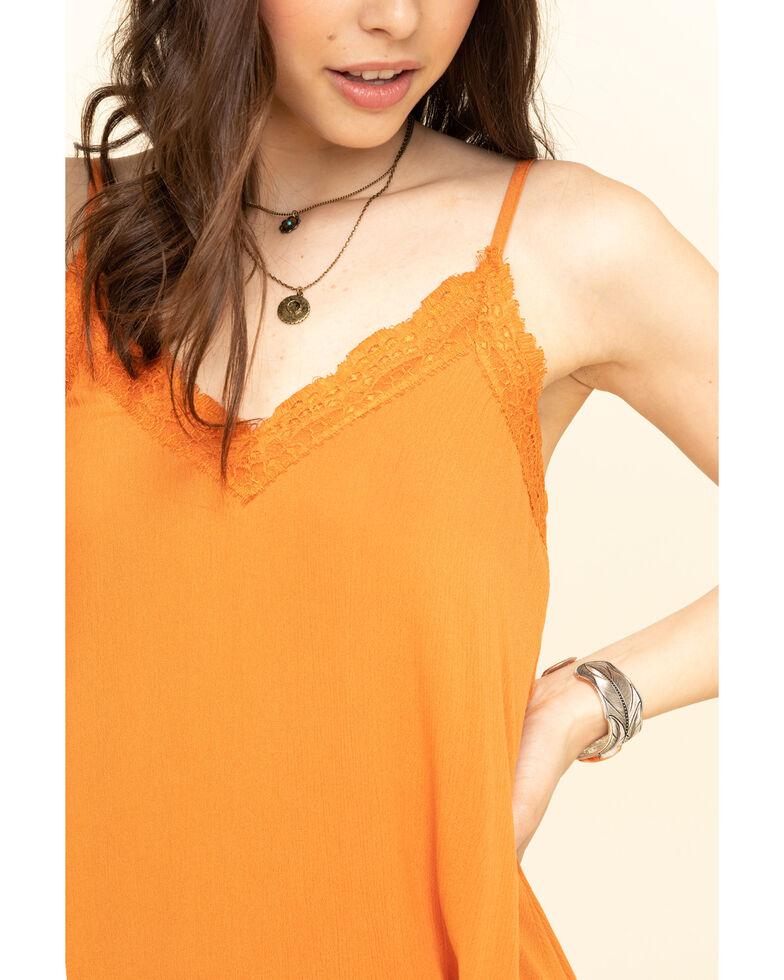 Jody of California Women's Solid V-Neck Hanky Hem Midi Dress, Orange, hi-res