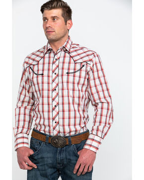 Roper Men's Red Large Fancy Plaid Long Sleeve Western Shirt , Red, hi-res