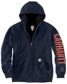Carhartt Men's New Navy Original Fit Lined Graphic Zip Front Work Sweatshirt , Navy, hi-res