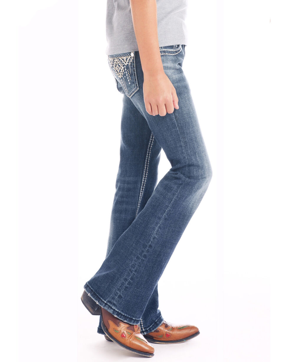 Rock & Roll Cowgirl Girls' Dark Wash Aztec Pocket Bootcut Jeans, Blue, hi-res