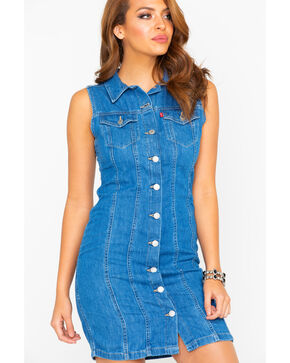 Levi's Women's Aubrey Authentic Stonewash Sleeveless Denim Dress , Blue, hi-res