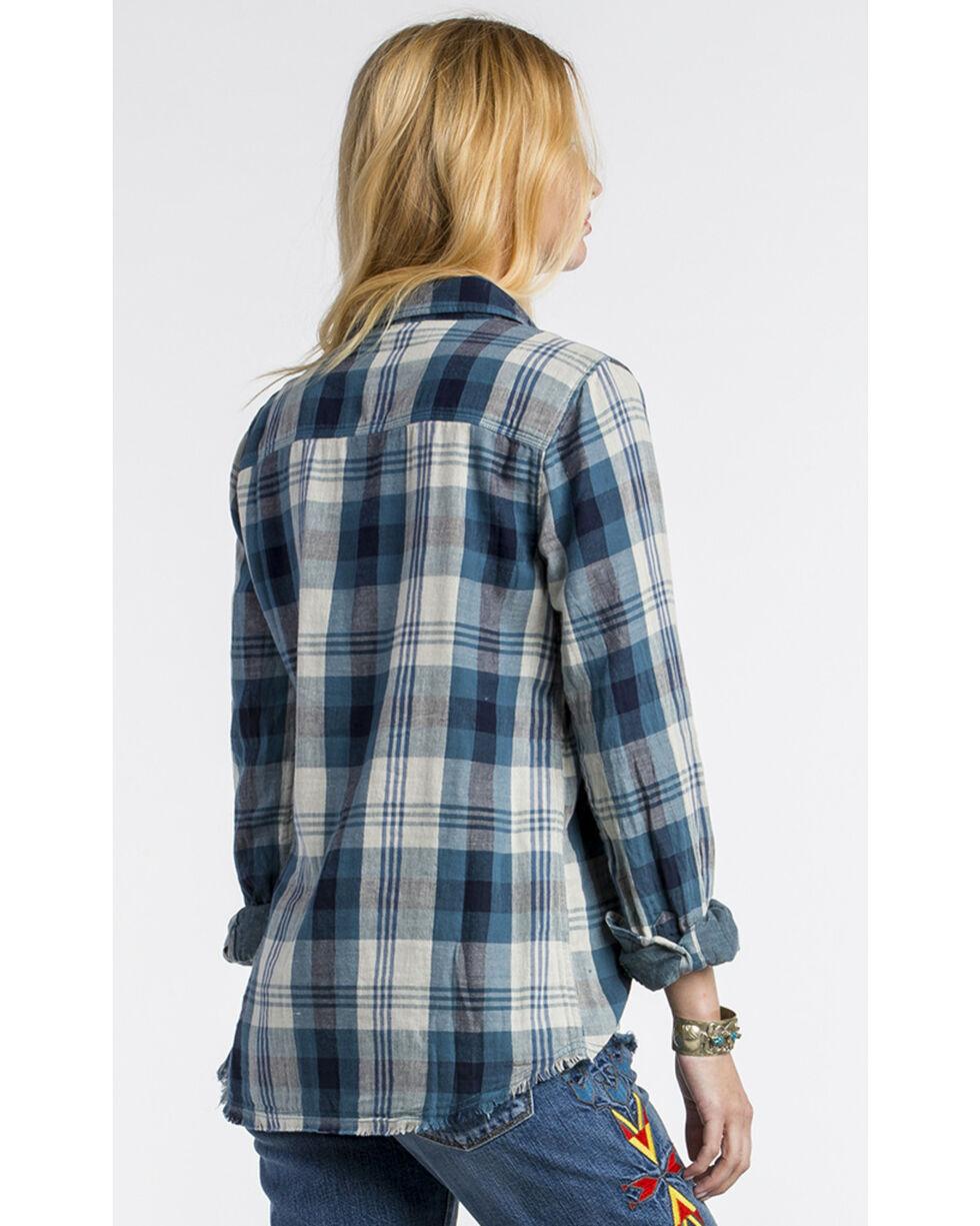 MM Vintage Women's Embroidered Plaid Button Down Shirt, Blue, hi-res