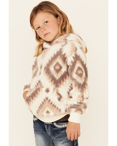 Shyanne Girls' White & Grey Aztec Print Pullover Sherpa Hoodie , Grey, hi-res