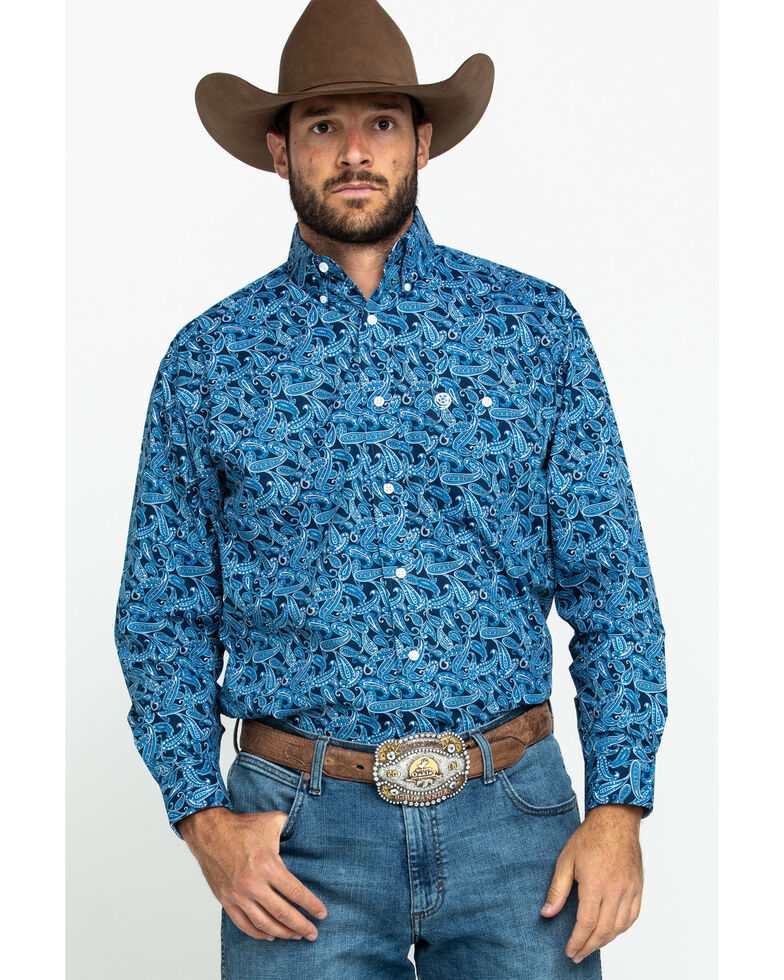 George Strait By Wrangler Men's Blue Paisley Print Poplin Long Sleeve Western Shirt - Tall , Blue, hi-res