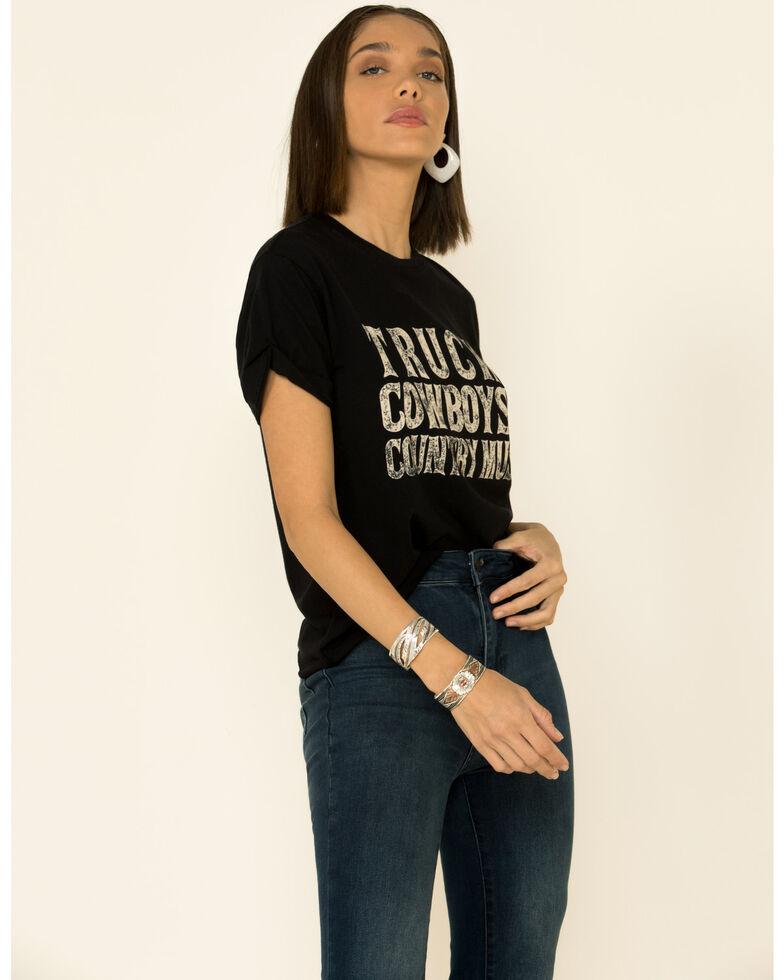 American Highway Women's Trucks Cowboys & Country Music Graphic Tee , Black, hi-res