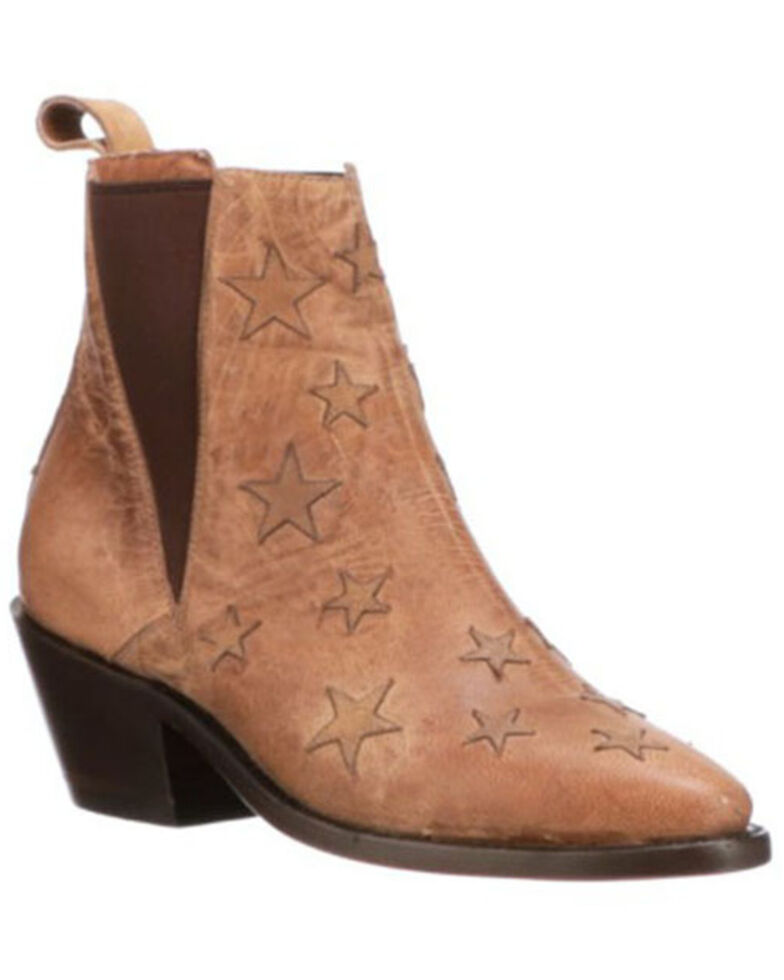 Lucchese Women's Tan Star Fashion Booties - Pointed Toe, Tan, hi-res