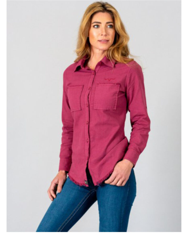 Kimes Ranch Women's Plum Temple Top Long Sleeve Western Shirt , Purple, hi-res