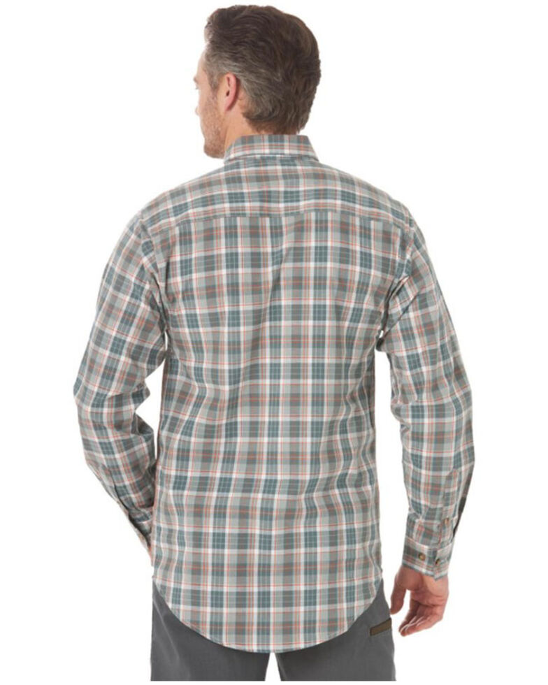 Wrangler Riggs Men's Olive Foreman Plaid Long Sleeve Button-Down Work Shirt , Olive, hi-res