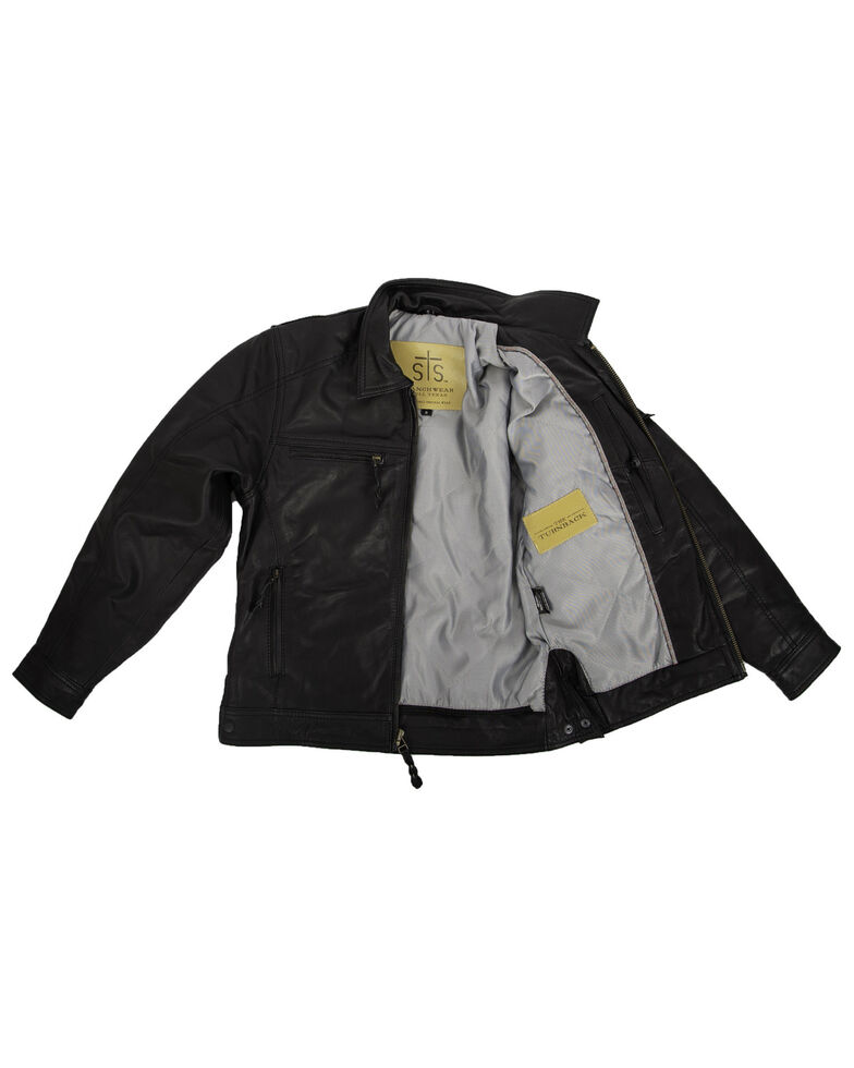 STS Ranchwear Boys' Black Turnback Leather Jacket, Black, hi-res