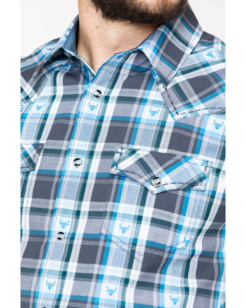 Cody James Men's Bushwacker 2.0 Med Plaid Short Sleeve Western Shirt , Blue, hi-res