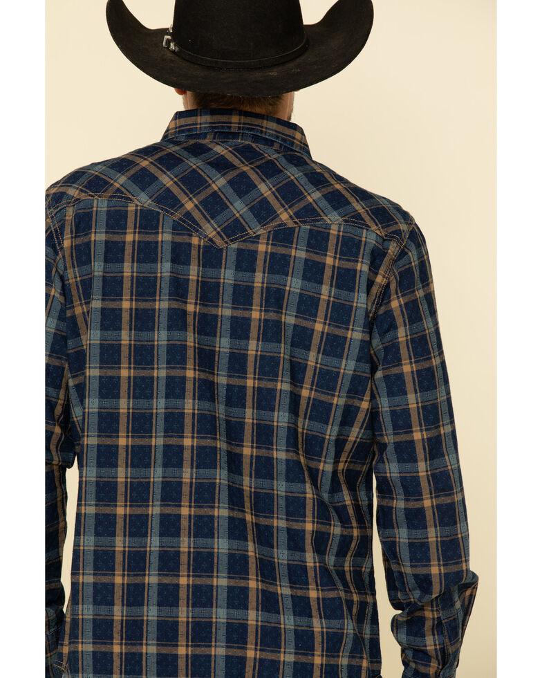 Wrangler Retro Men's Blue Large Dobby Plaid Long Sleeve Western Shirt , Blue, hi-res