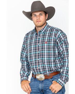 Cinch Men's Plaid Western Shirt, Burgundy, hi-res