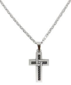 Cody James Men's Rhinestone Cross Necklace, Silver, hi-res