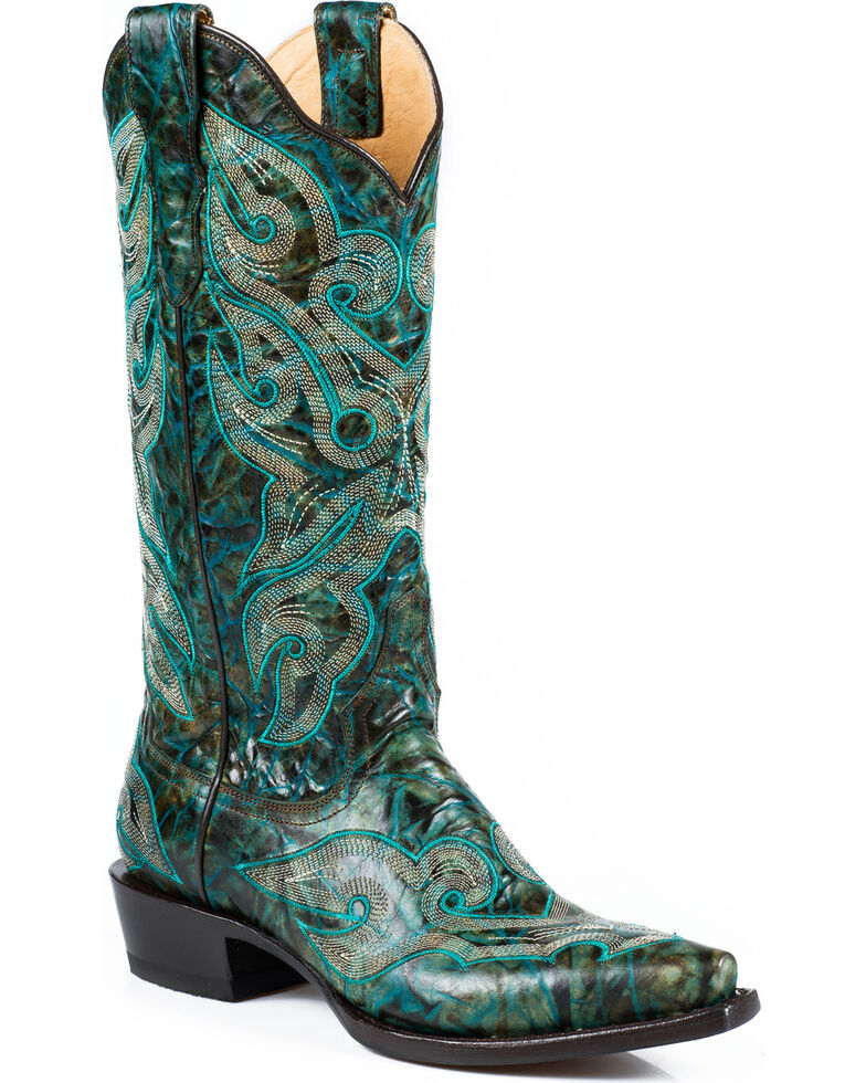Stetson Women's Vintage Marbled Turquoise Western Boots - Snip Toe, Green, hi-res
