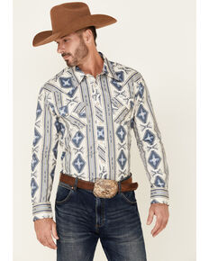Rock & Roll Denim Men's Navy Aztec Print Long Sleeve Snap Western Shirt , Navy, hi-res