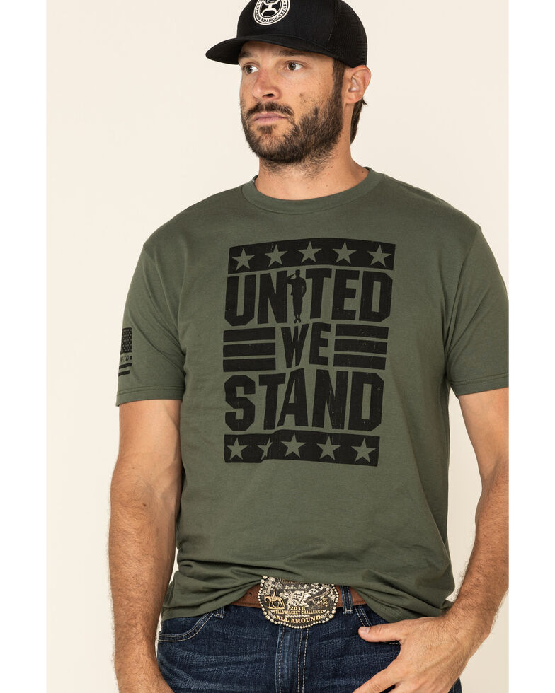 Howitzer Men's Green United We Stand Graphic T-Shirt , Green, hi-res