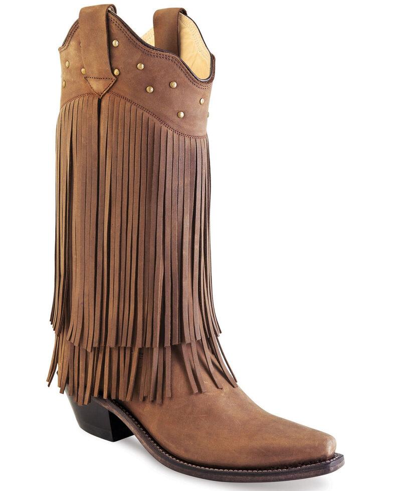 Old West Women's Fringe Western Boots - Snip Toe, Brown, hi-res