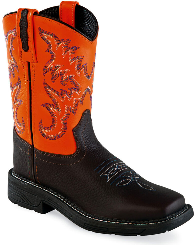 Old West Youth Boys' Brown/Orange Leather Work Rubber Cowboy Boots - Square Toe, Brown, hi-res