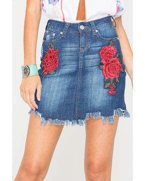Grace in LA Women's Rose Embroidered Denim Skirt, Indigo, hi-res